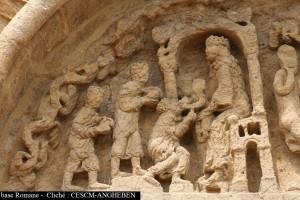 Anzy-le-duc, portail de l'enceinte, Adoration des Mages (cliché M. Angheben/CESCM)