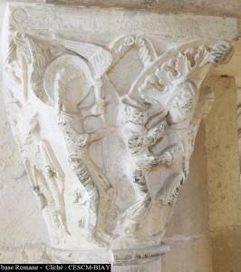 Vézelay, Tobie et Raphaël, tribunes de l'avant-nef (cliché S. Biay/CESCM)