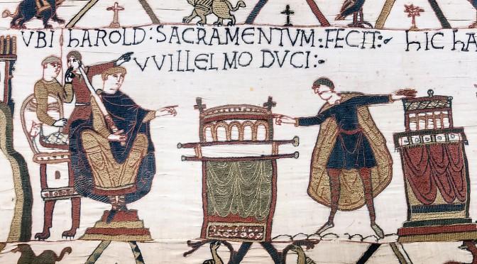 le serment de Harold, méchant parjure, dans la broderie de Bayeux