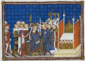 Gestes et actes des pairs de France au cours du sacre : Les pairs tiennent ensemble la couronne sur la tête de Charles V Source British Library, Ms Cotton Tiberius B. VIII, fol. 59v