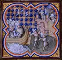 Les croisés assiègent Constantinople (1204) Grandes Chroniques de France, Paris, XIVe siècle (65 X 65 mm, BNF, FR 2813, fol. 245 v.)