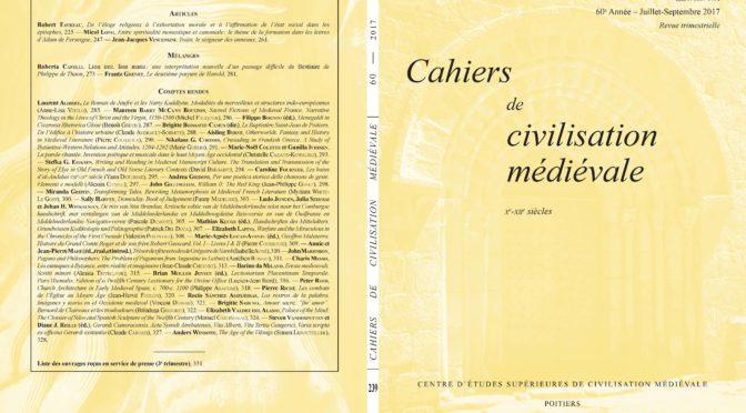 Cahiers de civilisation médiévale 60/3 (fascicule 239)